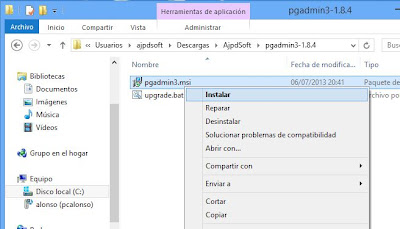 Instalar pgAdmin III en Windows 8, crear usuario y base de datos PostgreSQL 9