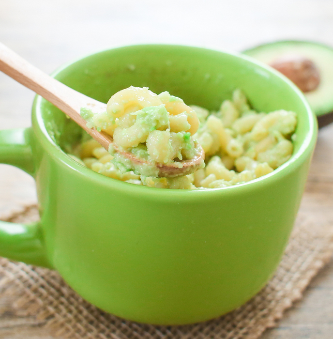 close-up photo of Avocado Macaroni and Cheese in a Mug
