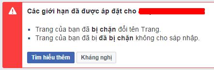Trang của bạn đã bị chặn đổi tên Trang