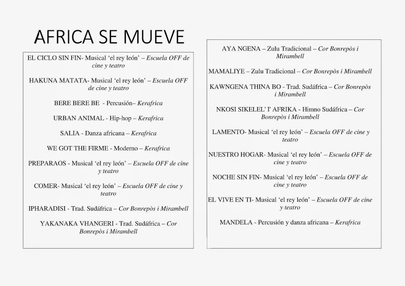 Programa de actuaciones espectáculo AFRICA SE MUEVE