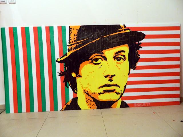bronya & sonya benigeler  tape art portrait of Sylvester Stallone Сильвестр Сталоне