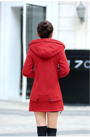 Áo khoác nỉ thân dài có mũ sau lót lông nhung