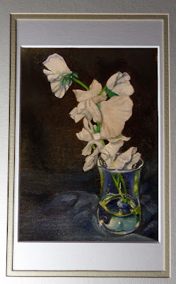Daily Painting, oil painting of white sweet peas in a vase