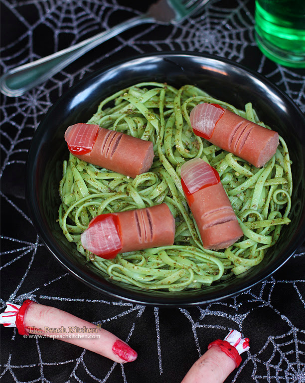 halloween pasta recipe swamp pesto with severed fingers | www.thepeachkitchen.com