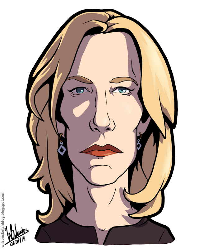 Cartoon caricature of Anna Gunn as Skyler White from Breaking Bad.