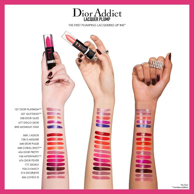 Bảng màu son Dior Addict Lacquer Plump