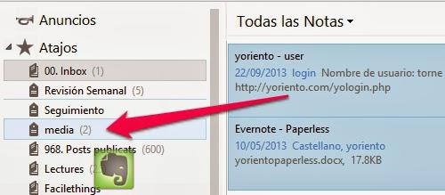 Evernote. Asignar tag a arrastrando
