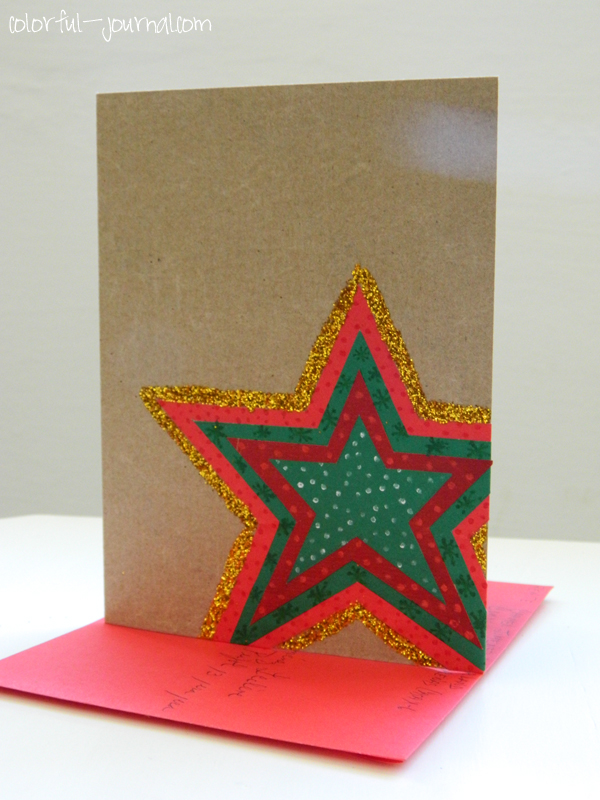 christmas card glitter star