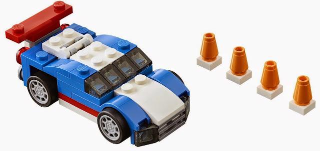 Lego Creator 31027 Xe đua xanh Blue Racer và 4 chốt giao thông màu cam