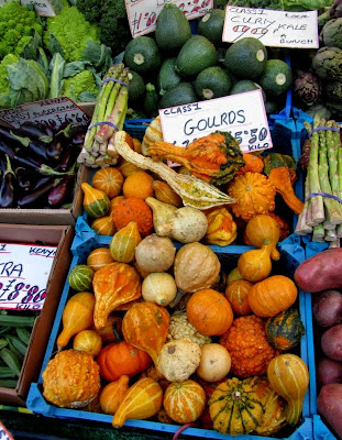 Market stall with squash