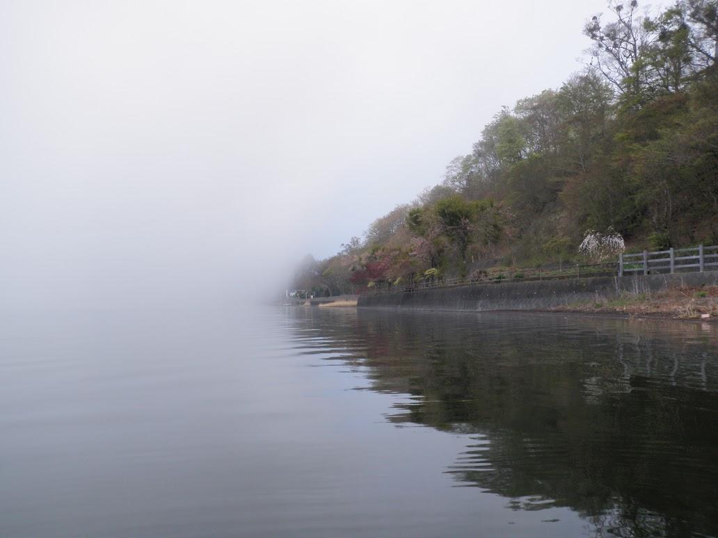 山中湖 バスフィッシング 霧