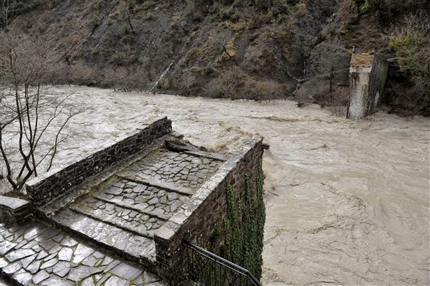 Historic Greek bridge washed out by flood waters