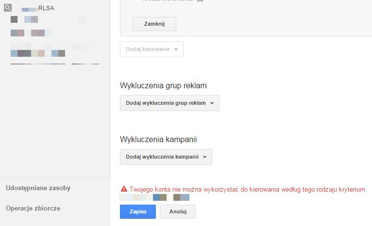RLSA w Google Grants