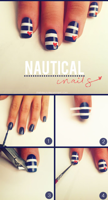 Paint, stick and paint method to decorate your nails.