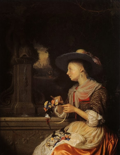 Godfried Schalcken - Young Woman Weaving a Garland
