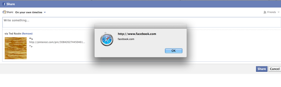 Share Button stored XSS