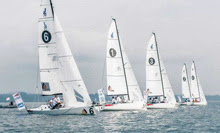 J/70s sailing off starting line- Germany's Segel Bundesliga