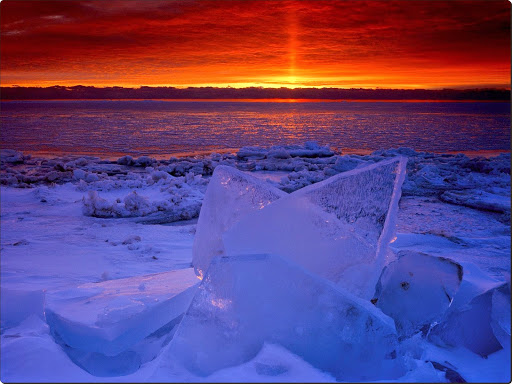 Sunrise Light on the Frozen Shores of Newport Bay, Lake Michigan, Wisconsin.jpg