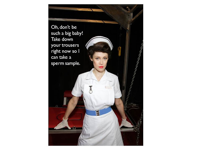 Captioned image of an incredibly sexy nurse