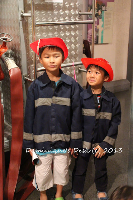 The boys dressed as firefighters