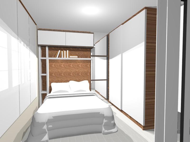 decoracao de apartamentos pequenos quarto casal:Neste pequeno quarto de casal houve aproveitamento do espaço
