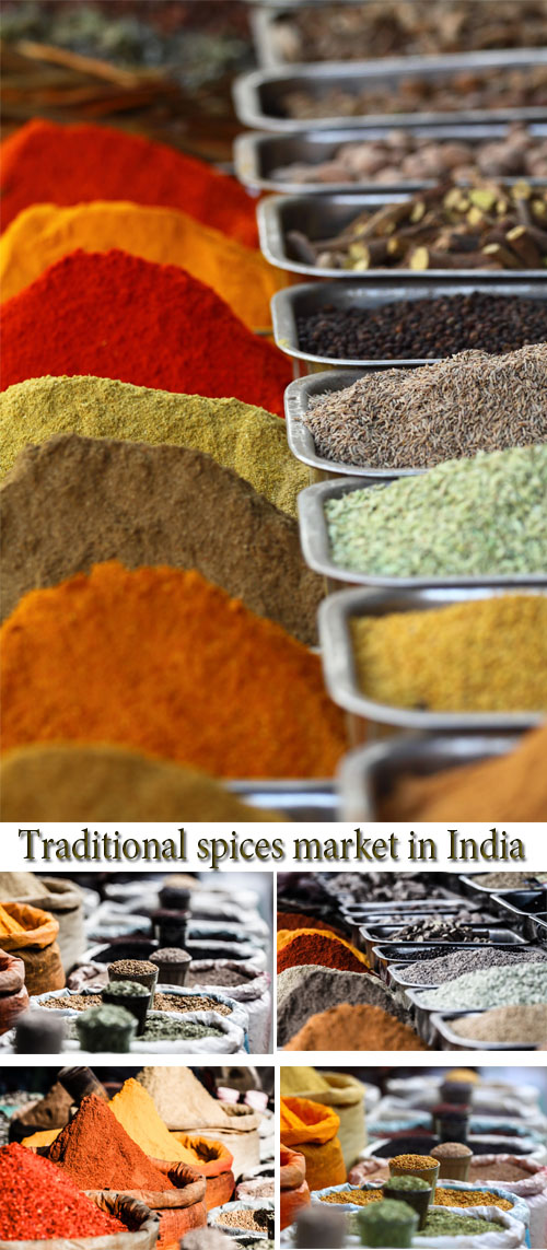 Stock Photo: Traditional spices market in India