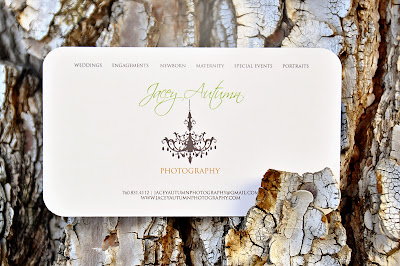 back of jacey autumn photography business cards against tree bark, printed by GotPrint