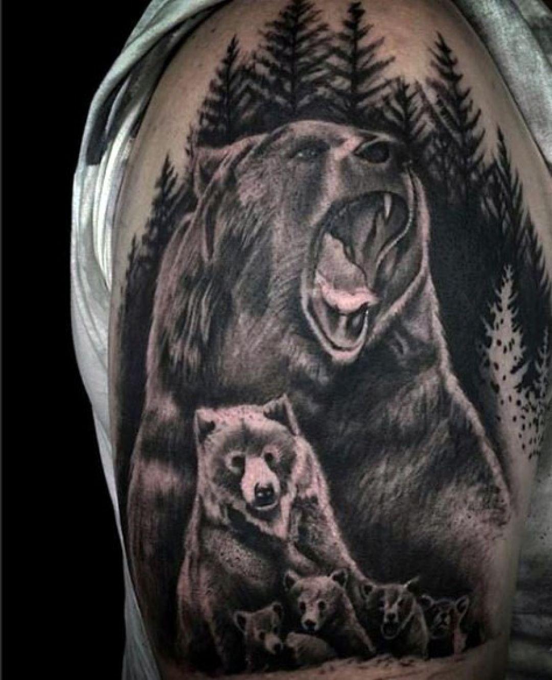ลายสักหมีหัวไหล่