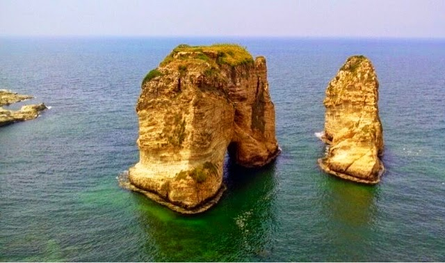 Picture of the Pigeon Rocks off the coast of Beirut Raouché.