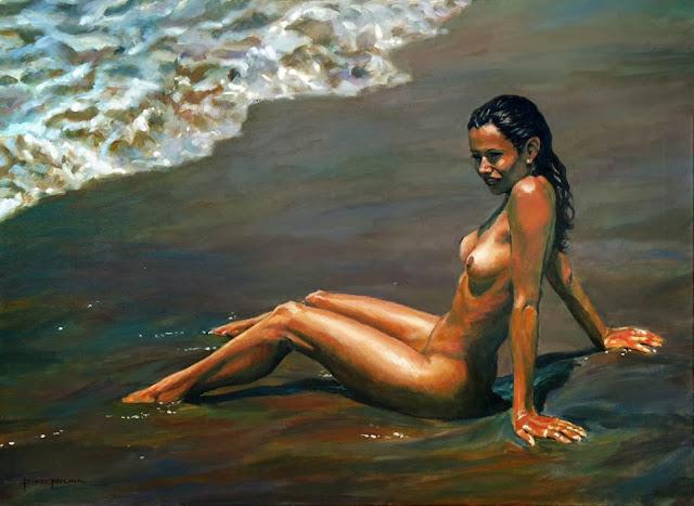 al sol tras el baño, pintura en acrilico de fidel molina
