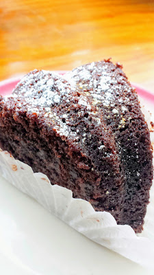 This super moist chocolate cake made with apple sauce at Blue Scorcher Bakery Cafe in Astoria, OR. SO good. So DELICIOUS.