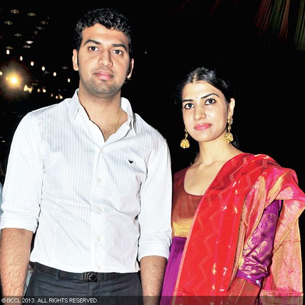 Ashwin and Aparna strike a pose as they arrive for Hitesh Chenchuram and Sri Puja's wedding ceremony, held in the city recently.