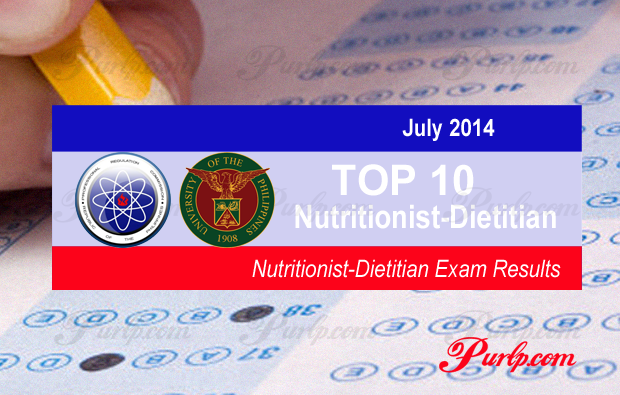 Top 10 July 2014 Nutritionist Board Exams Topnotchers