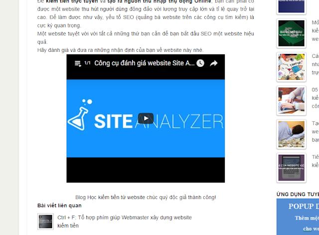 Căn lề video nằm giữa bài viết
