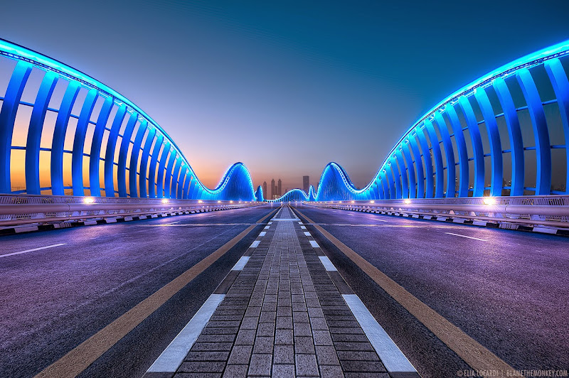 The extraordinary Meydan Bridge, one of Dubai's most beautiful pieces of architecture. Photographer Elia Locardi