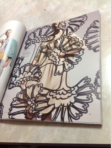 japanese floral pattern inspired by florence broadhurst drawn on fashion catalog