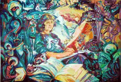 colorful abstract with a woman writing