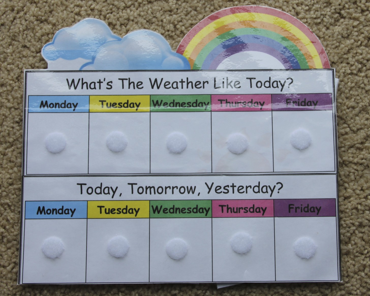 Days Of The Week Chart Printable Letter of week curriculum