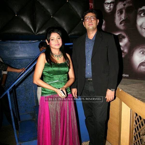 Meghna Halder and Pryanshu Chatterjee during the premiere of Ai Raat Tomar Amar, held in Kolkata.