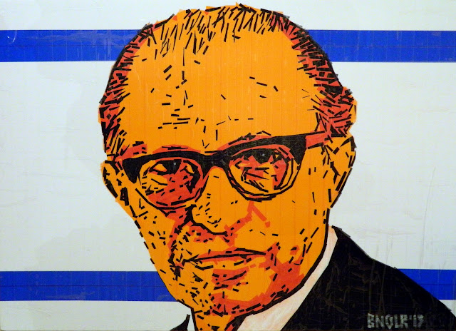 bronya & sonya benigeler  tape art portrait of Menachem Begin Бегин Менахем מנחם בגין