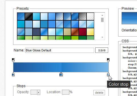 Color Stop no Colorzilla, pontos em que as cores iniciam ou terminam no degradê
