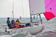 J/80 one-design sailboat- sailing on Solent, England