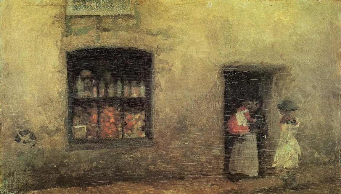 James Abbott McNeill Whistler - An Orange Note. Sweet Shop