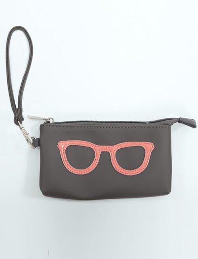 Brown Wristlet With Embroidered Neon Pink Glasses [SOURCE]