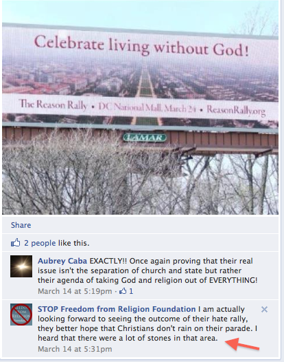 STOP Freedom from Religion Foundation post on Facebook