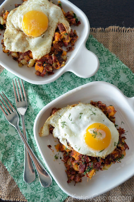 Sweet Potato Corned Beef Hash from KatiesCucina.com @KatiesCucina #Irish #Breakfast #Recipe
