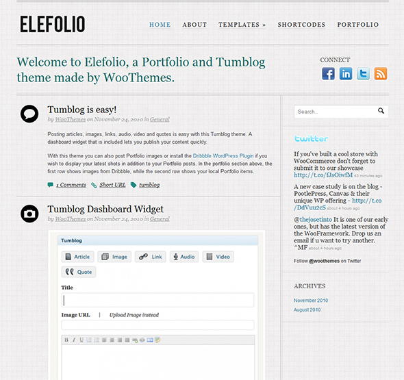 Elefolio Tumblr Style WordPress Theme for Efortless Microblogging