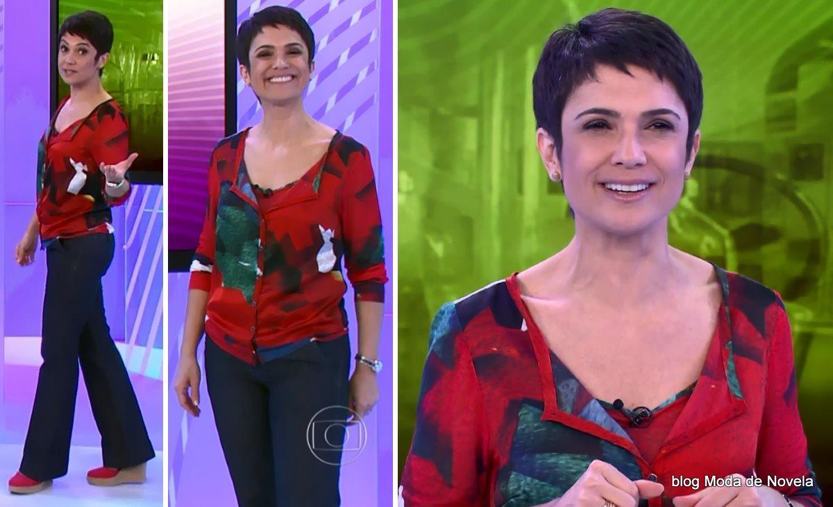 moda do programa Globo Cidadania - look da Sandra Annenberg com espadrille rosa dia 5 de julho