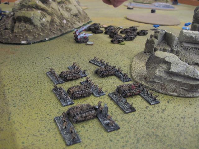 A mech platoon advances.