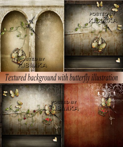 Stock Photo: Textured background with butterfly illustration